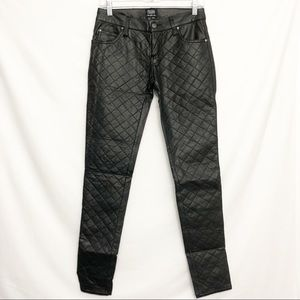 Tripp NYC || Quilted Blk Leather Moto Skinnies 26